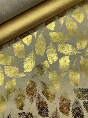 Plume or fond taupe, papier fantaisie