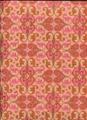 Arabesque marron rose et or fond orangé, papier fantaisie indien
